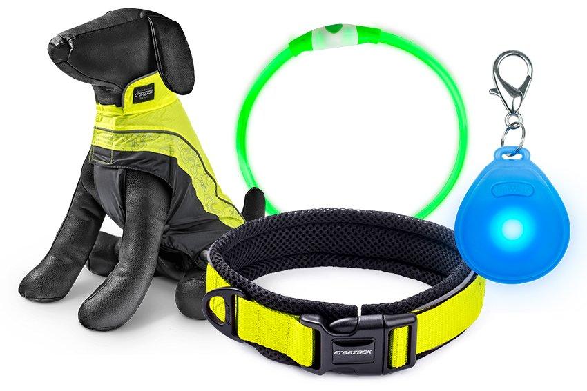 Leuchtartikel wie Leuchtweste, Leuchthalsband und Leuchties für bessere Sichtbarkeit bei Hunden
